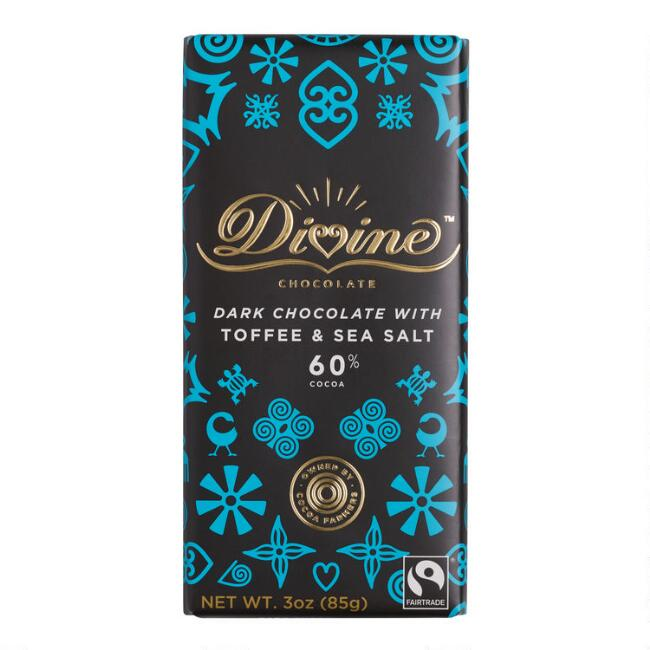 Divine Toffee and Sea Salt 60% Dark Chocolate Bar