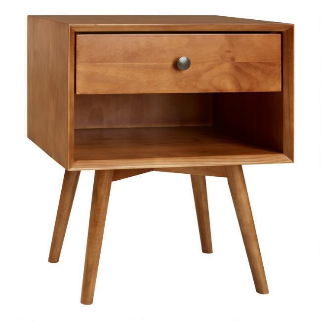 Pine Mid Century Archer Nightstand with Drawer