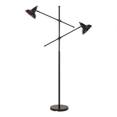 Metal 2 Light Adjustable Rowan Floor Lamp