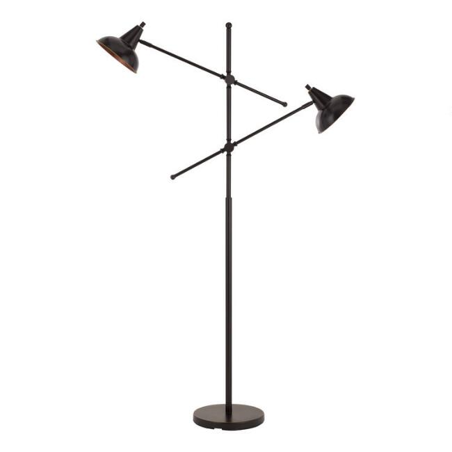 Bronze Metal 2 Light Adjustable Rowan Floor Lamp