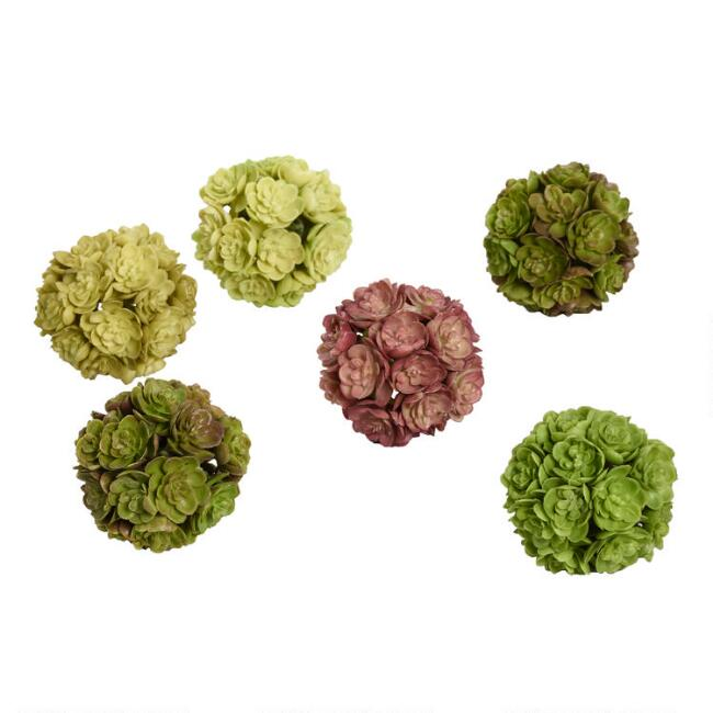 3 Pack of Faux Succulent Spheres Set of 2