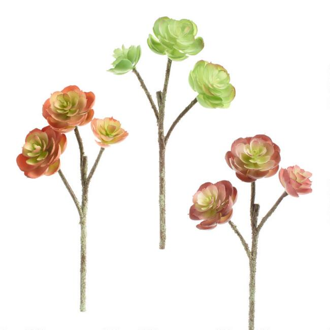 Faux Echeveria Triple Stems Set of 3
