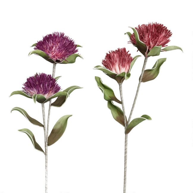 Faux Double Pom Flower Stems Set of 2