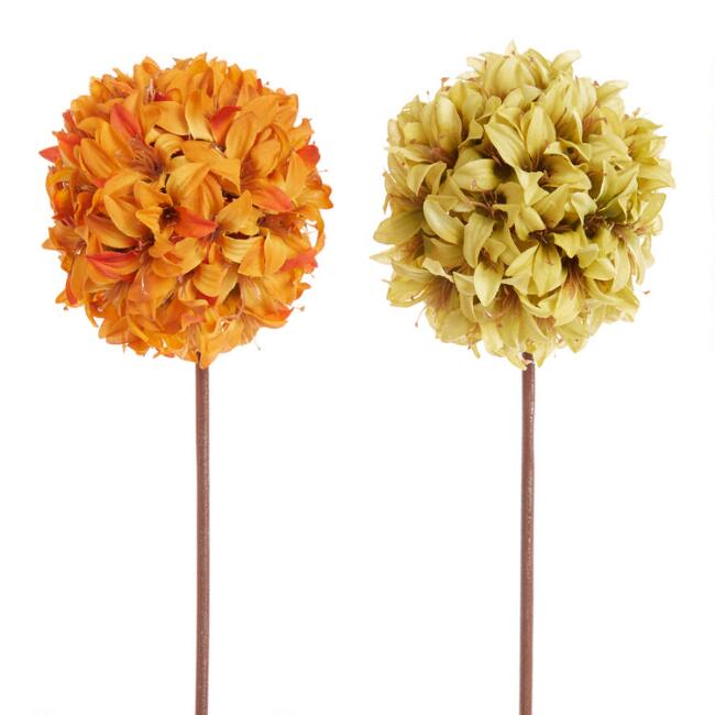 Faux Lily Ball Stems Set of 2