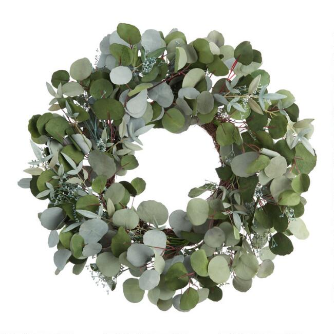 Green Faux Eucalyptus Leaves and Buds Wreath