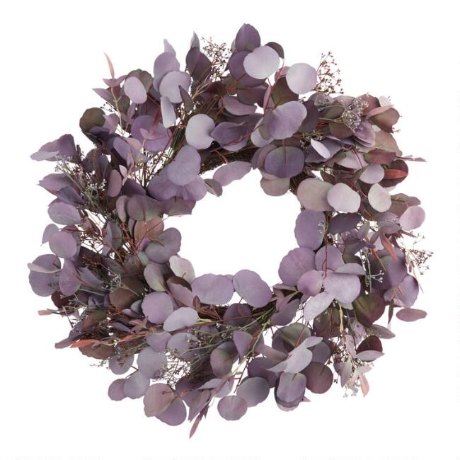 Purple Faux Eucalyptus Leaves and Buds Wreath