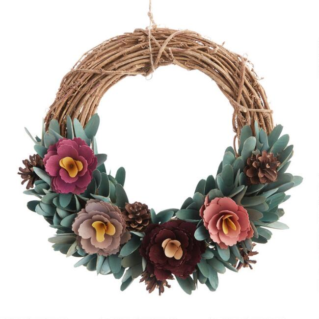Wood Floral Wreath