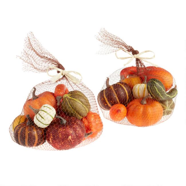 12 Pack Faux Pumpkins and Gourds Set of 2