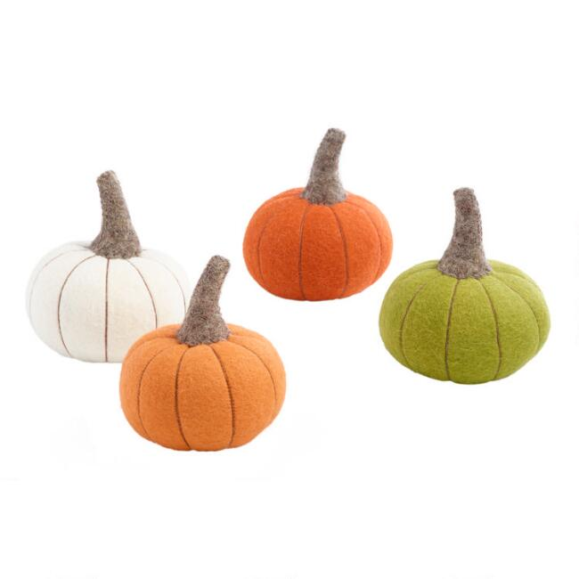 Felted Wool Pumpkins Set of 4