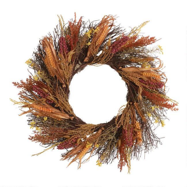 Faux Heather and Wheat Wreath