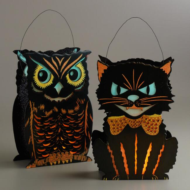 Vintage Halloween Lanterns Set of 2