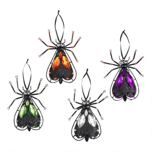 Jeweled Metal Fly Ornaments Set of 4