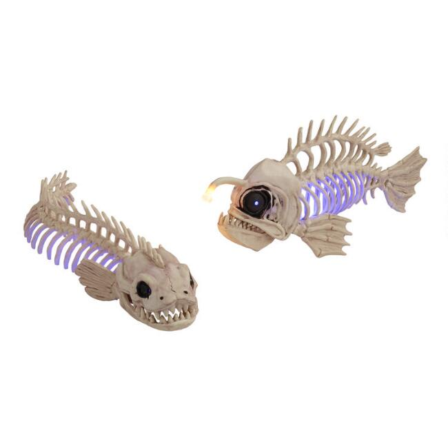 Fish and Eel Skeleton LED Light Up Decor Set of 2
