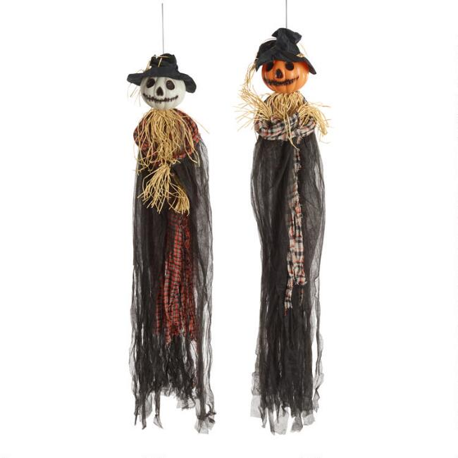 Scarecrow Pumpkin Halloween Hanging Figures Set of 2