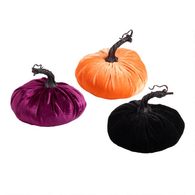 Velvet Pumpkins Set of 3