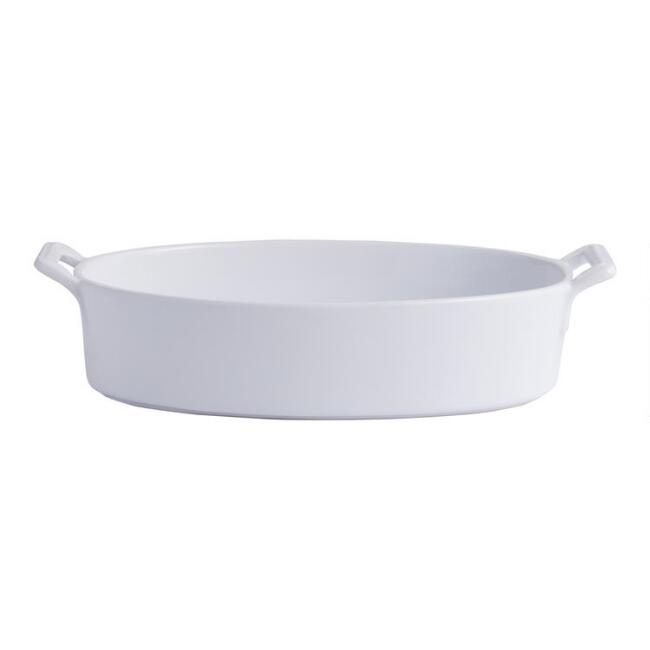 Oval White Ceramic Baker