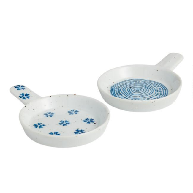 Indigo Blue And White Abstract Ceramic Tea Rests Set Of 2