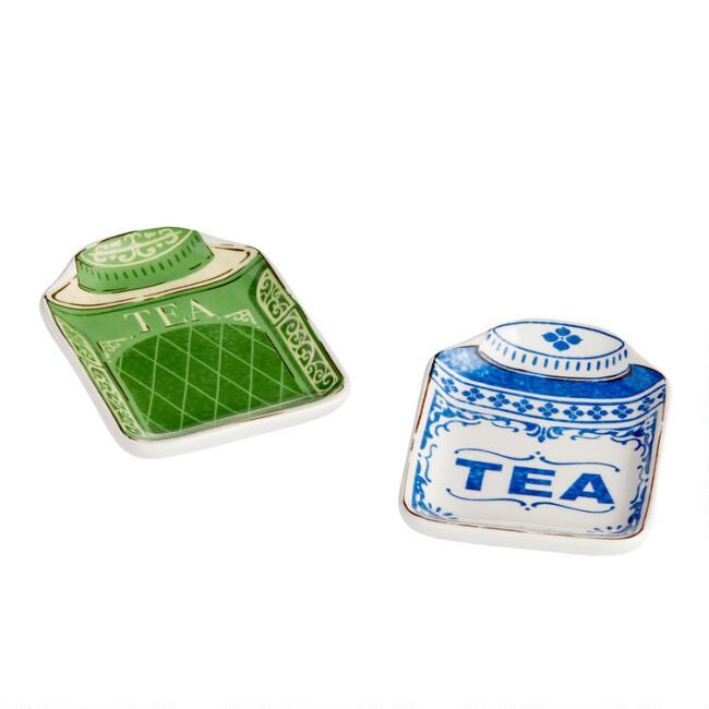 Vintage Tea Tin Ceramic Tea Rests Set Of 2