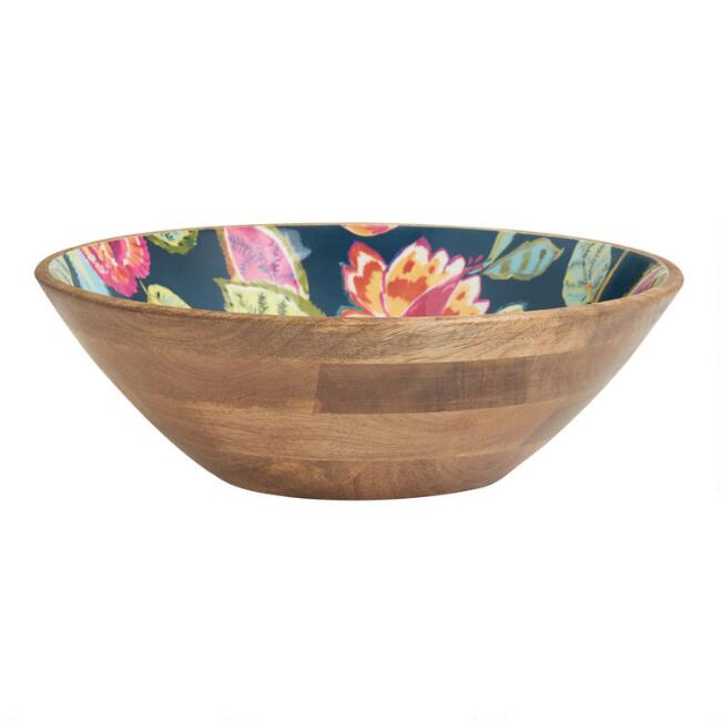Large Navy Multicolor Floral Amal Enamel Wood Bowl