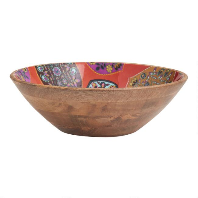 Large Orange Multicolor Nirvana Enamel Wood Bowl