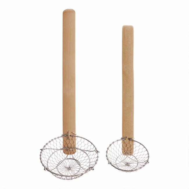 Stainless Steel And Natural Bamboo Strainer Ladle