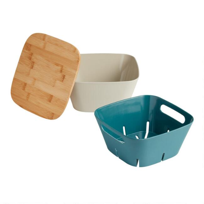 Bamboo Fiber Nesting Colander And Bowl Set with Wood Lid