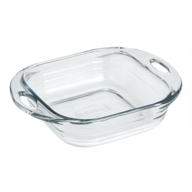 Baked by Fire-King Square Vintage Glass Cake Pan