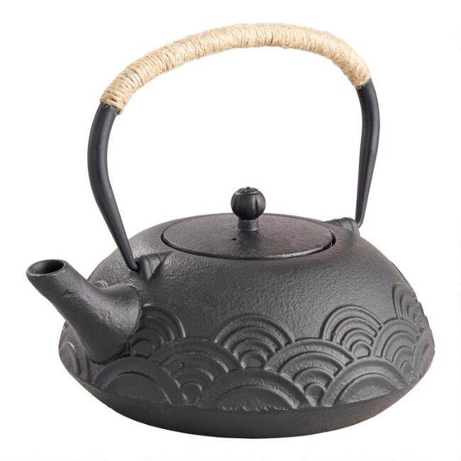 Cast Iron Wave Teapot with Fiber Wrapped Handle