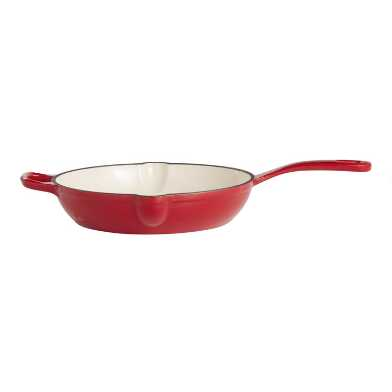 10 Inch Cherry Red Enamel Cast Iron Skillet
