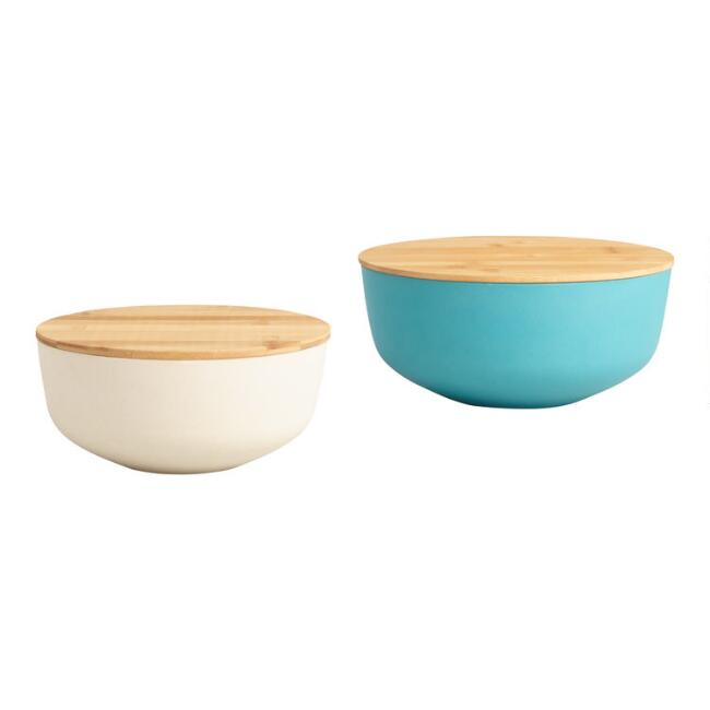 Bamboo Fiber Nesting Storage Bowls with Wood Lids 2 Pack