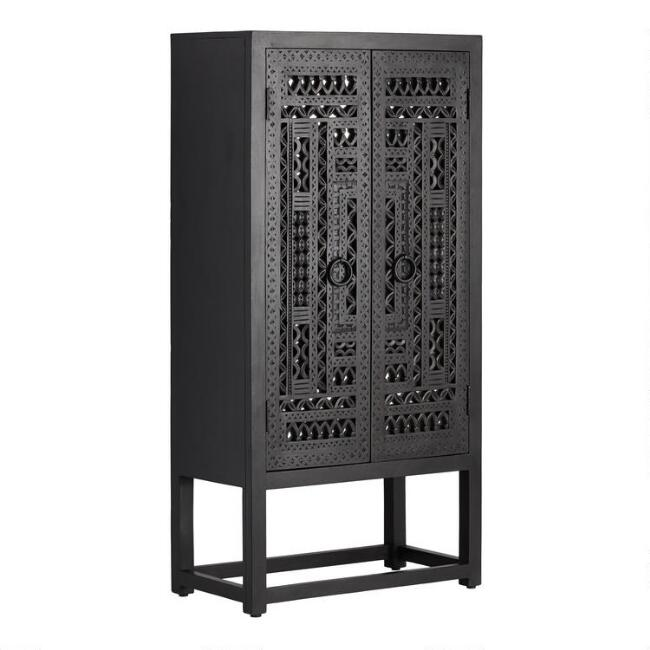 Carved Wood and Mirror Almirah Storage Cabinet