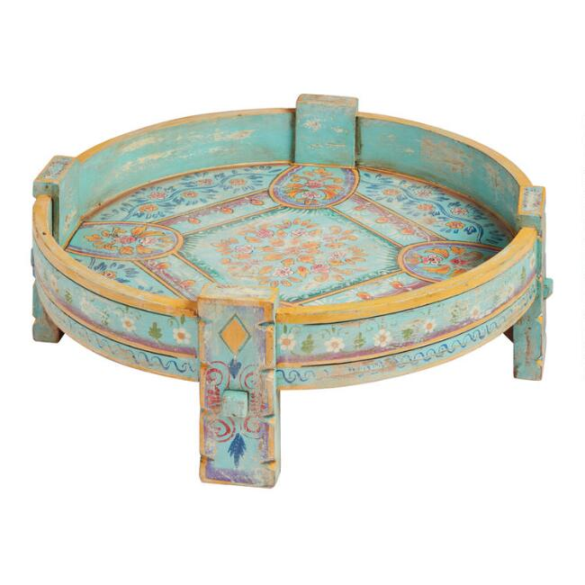 Distressed Turquoise Hand Painted Grinder Table