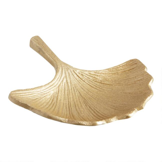 Gold Gingko Leaf Trinket Dish