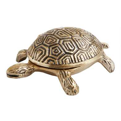 Antique Gold Turtle Trinket Box