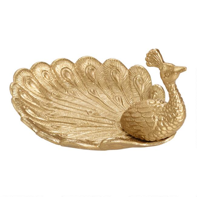 Antique Gold Peacock Trinket Dish