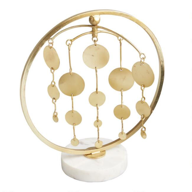 Gold Disk Tabletop Mobile on Marble Stand