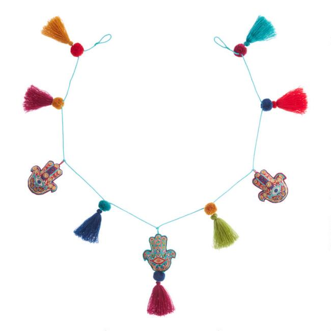 Felt Hamsa Hand and Tassel Garland