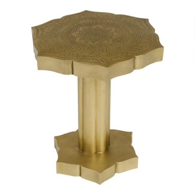 Antique Gold Lotus Accent Table