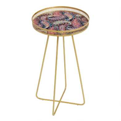 Small Round Gold Metal and Paisley Tray Table