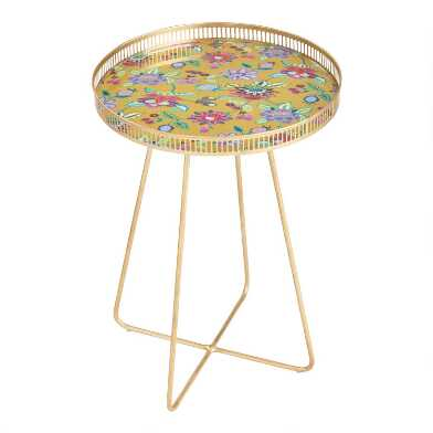 Medium Round Gold Metal Floral Tray Table