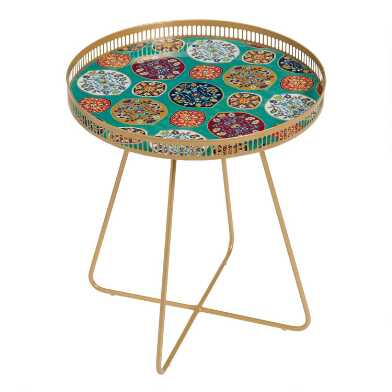Large Round Gold Metal Floral Tray Table