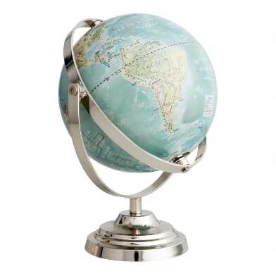 Lacquered Light Blue Globe on Silver Stand