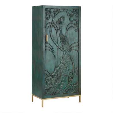 Teal Carved Wood Peacock Storage Cabinet