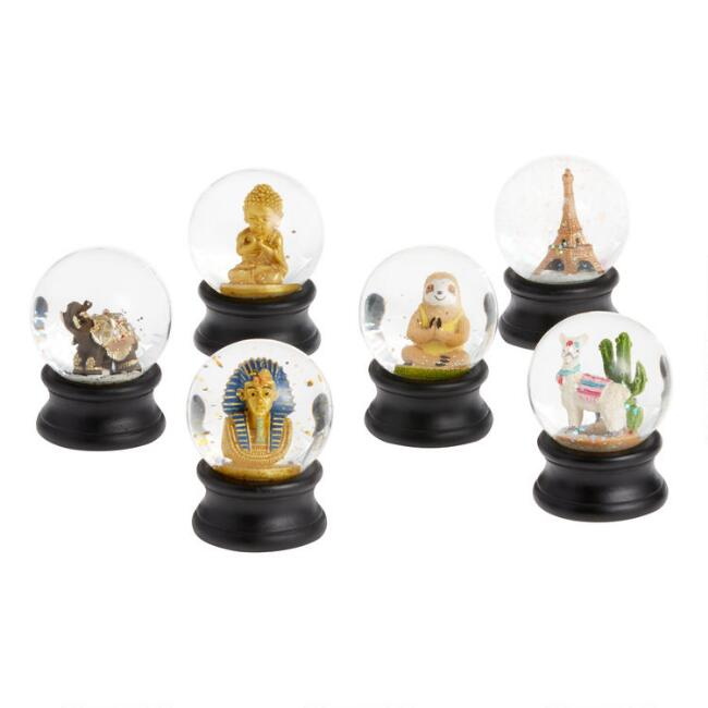 Mini Global Symbol Snow Globes Set of 6