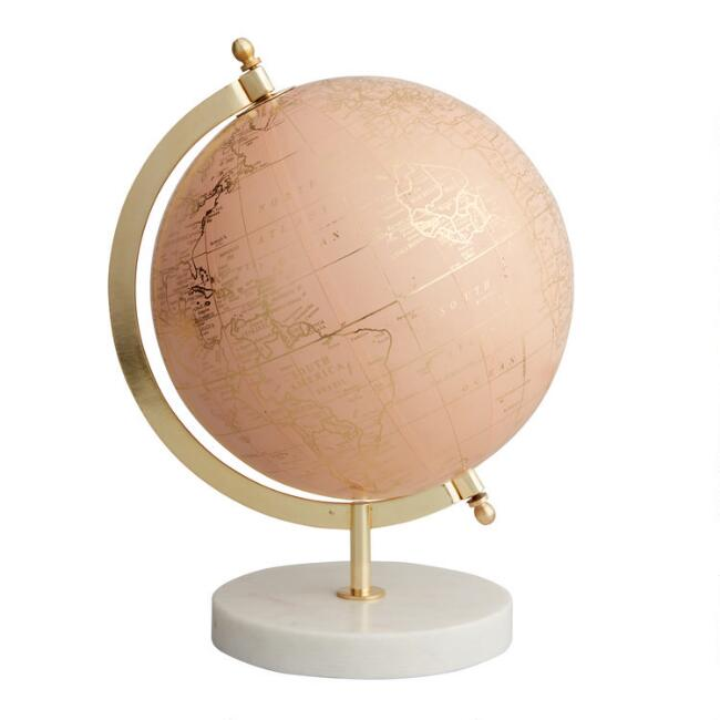 Blush Globe On Marble Stand by World Market