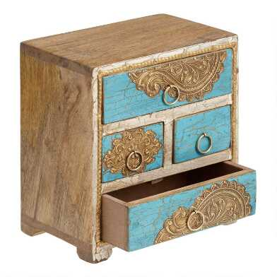 Turquoise and Gold Hand Painted Tabletop Storage Chest