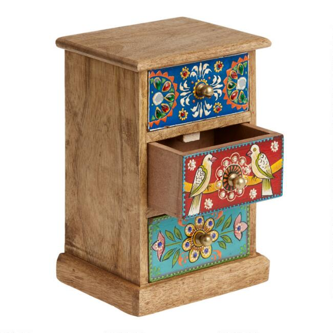 Love Birds Hand Painted Tabletop Storage Chest