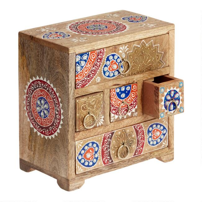 Embossed Hand Painted Tabletop Storage Chest
