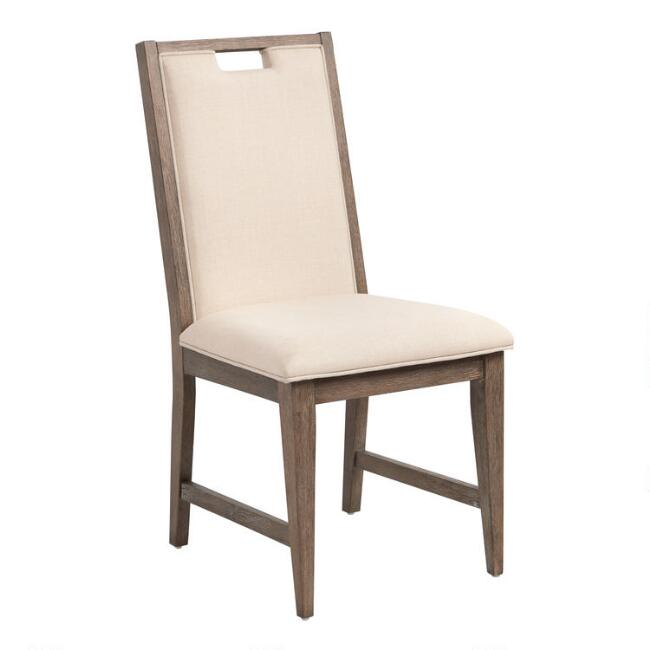 Distressed Wood Hailey Upholstered Dining Chairs Set of 2