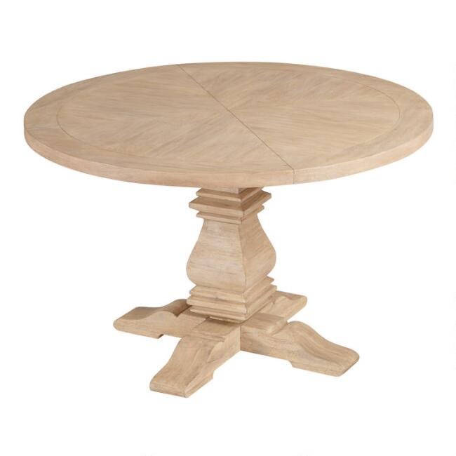 Round Blonde Wood Plank Arcadia Dining Table